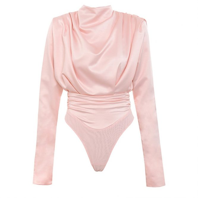 Artsu elegante blusa rosa satinada de manga larga partes de arriba tipo Body para Mujer primavera 2020 nuevo pelele Mujer Camisetas lindas ASJU60703