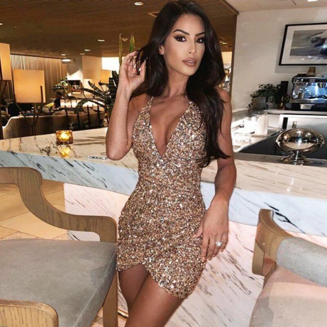 Thereadict Spaghetti Correa brillo lentejuelas Sexy Vestido cuello V profunda sin respaldo Vestido de fiesta de celebridades Bodycon Mini Vestido de las mujeres Vestido